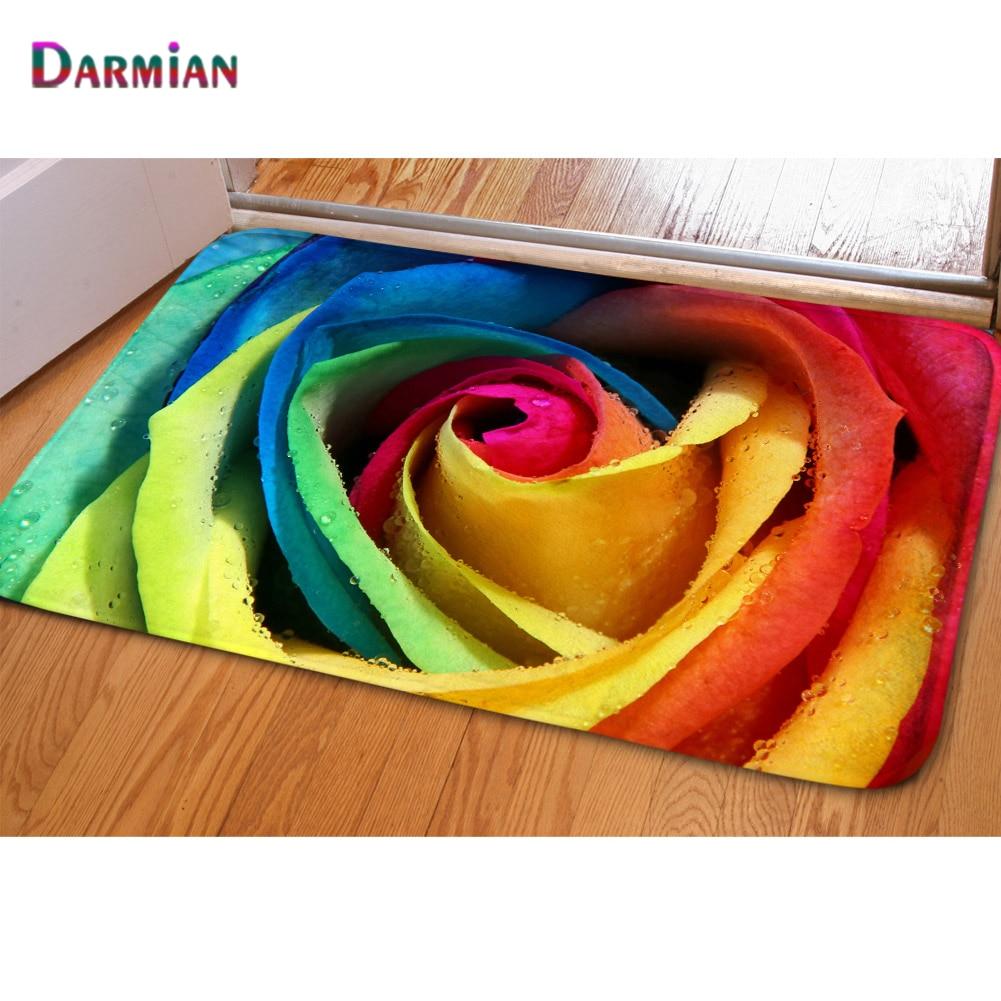 DARMIAN-alfombra antideslizante con estampado de rosas de colores, sala de estar felpudo antideslizante para, entrada de cocina, salón
