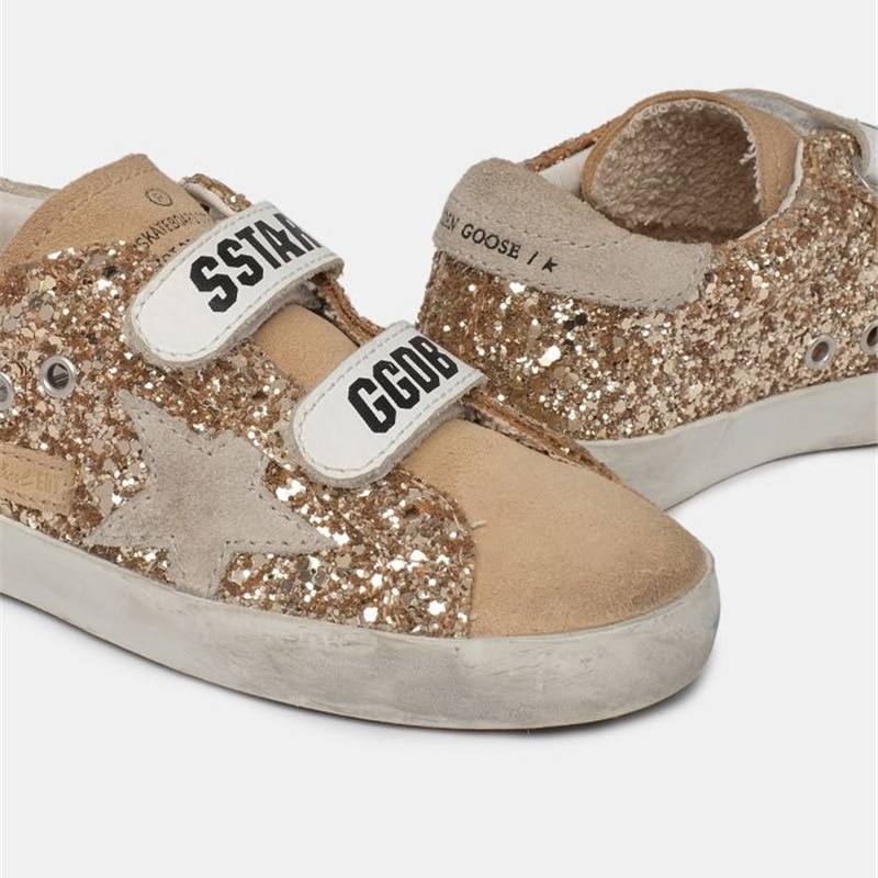 Children's 2021 Spring  New Products Gold Sequins Retro Dirty Shoes for Boys and Girls Casual Non-slip Velcro Sneakers CS207 enlarge