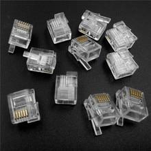 10-100Pcs RJ12 Sechs-kern Klar Kristall kopf 6P6C rechts Schnalle Position Fit für LOGO NXT EV3 technic MOC Blöcke Teile DIY Spielzeug