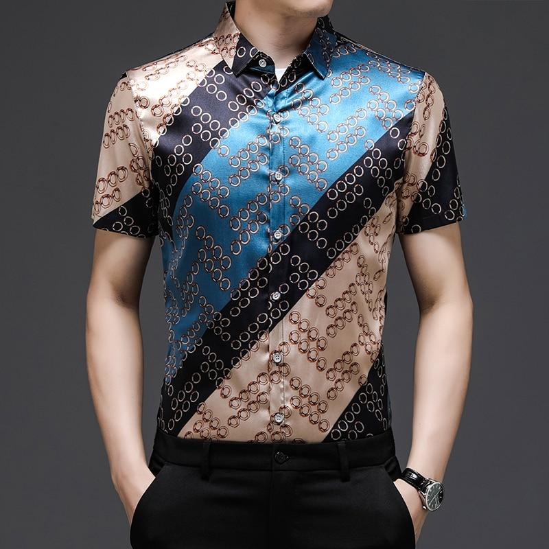 ليوبارد مطبوعة الحرير فساتين فاخرة أحجام كبيرة ملابس رجالي لصيف موضة 2021 قمصان رجالي مصمم غير عادية السلس