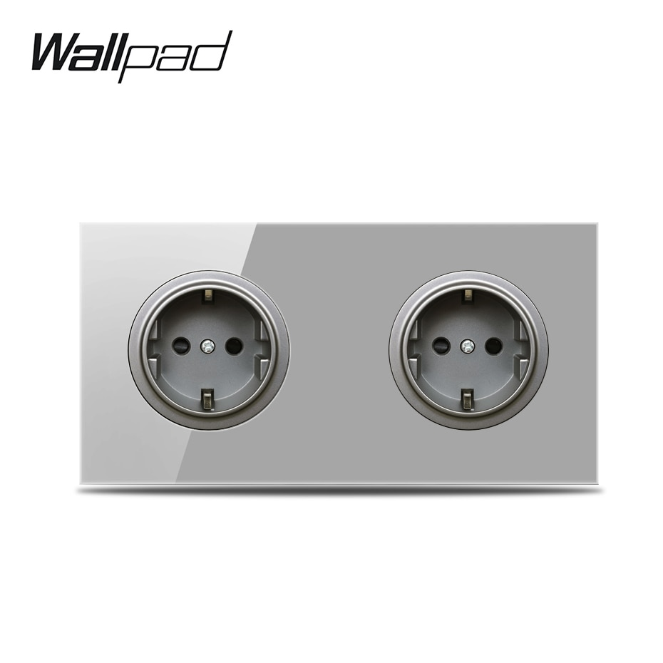 Wallpad L6 Grey Glass Double 2 Way EU Wall Power Socket Electric Outlet Schuko Twin Dual Socket, 172 * 86 mm