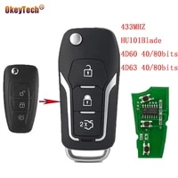 okeytech modified flip fold complete remote control car key for ford mondeo focus fiesta 4d60 4080 bits 4d63 4080bits 3 button