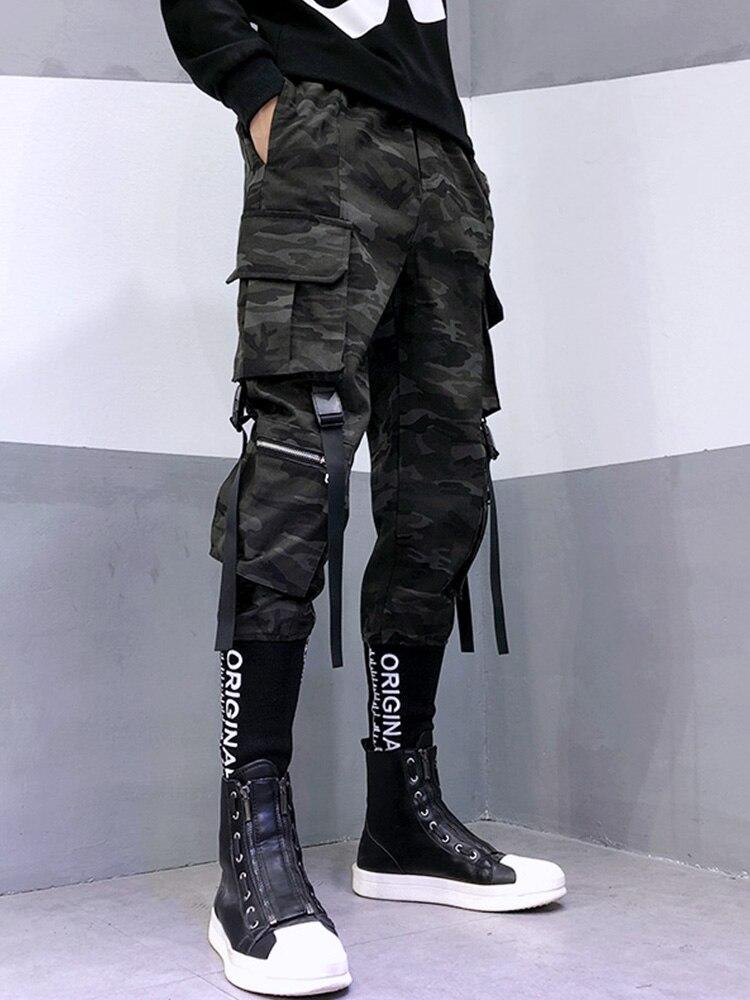شحن مجاني الرجال الموضة وزرة التمويه عادية التكتيكية وظيفة السراويل الكورية الشارع إلكتروني التطريز سراويلي حريمي