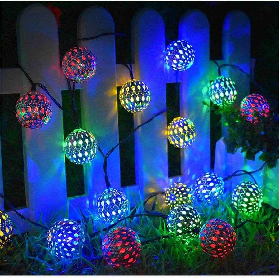 Уличная светодиодная гирлянда с марокканскими Шарами на солнечной батарее, железная арт-гирлянда, сказочный садовый светильник для свадьб...