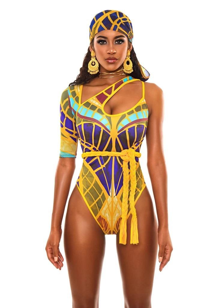 2020 traje de baño Sexy de una pieza con estampado Digital, Push Up, traje de baño para mujer, traje de baño triangular con un hombro, traje de baño