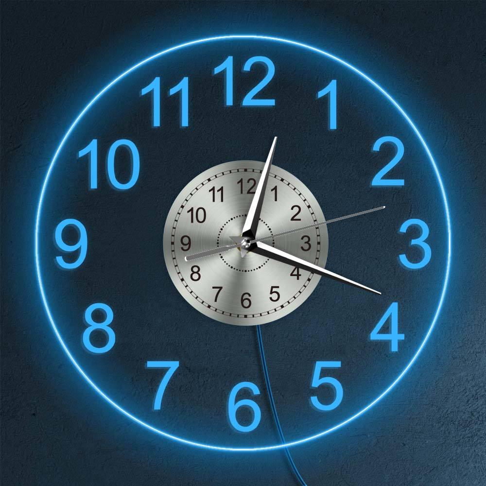 Relógio de Parede do Vintage Decoração da Casa Luz da Noite Algarismos Árabes Iluminado Decorativo Acrílico Redondo Parede Pendurado Relógio Horologe Led