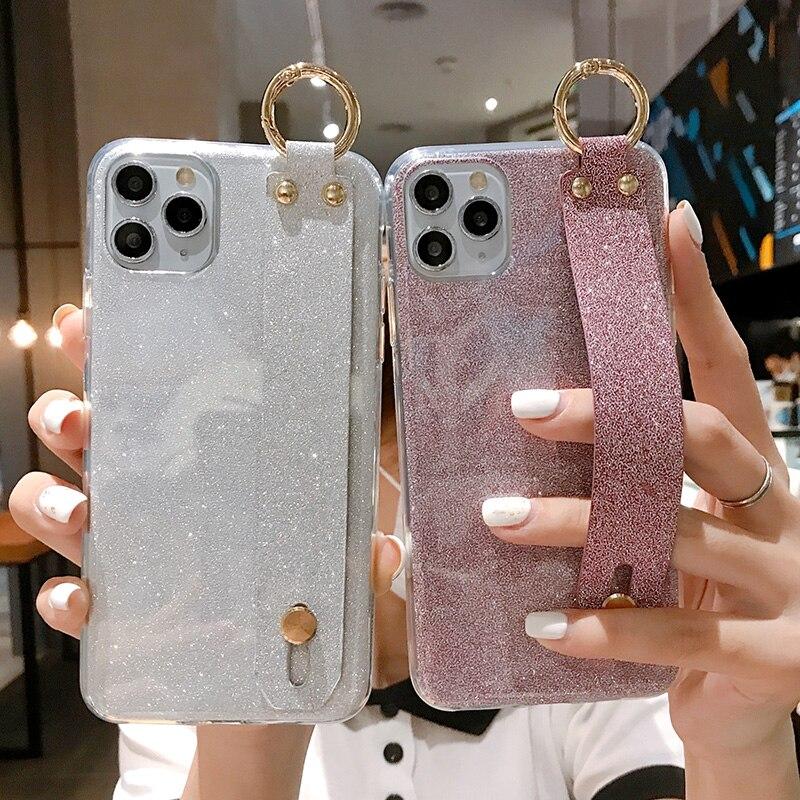 Caso Alça de pulso para LG G8S G7 ThinQ G6 G5 G4 G3 Brilho Caso LG V40 V30 V20 V10 Stand titular Caso LG Q6 Q7 Q8 Capa Fundas Capa