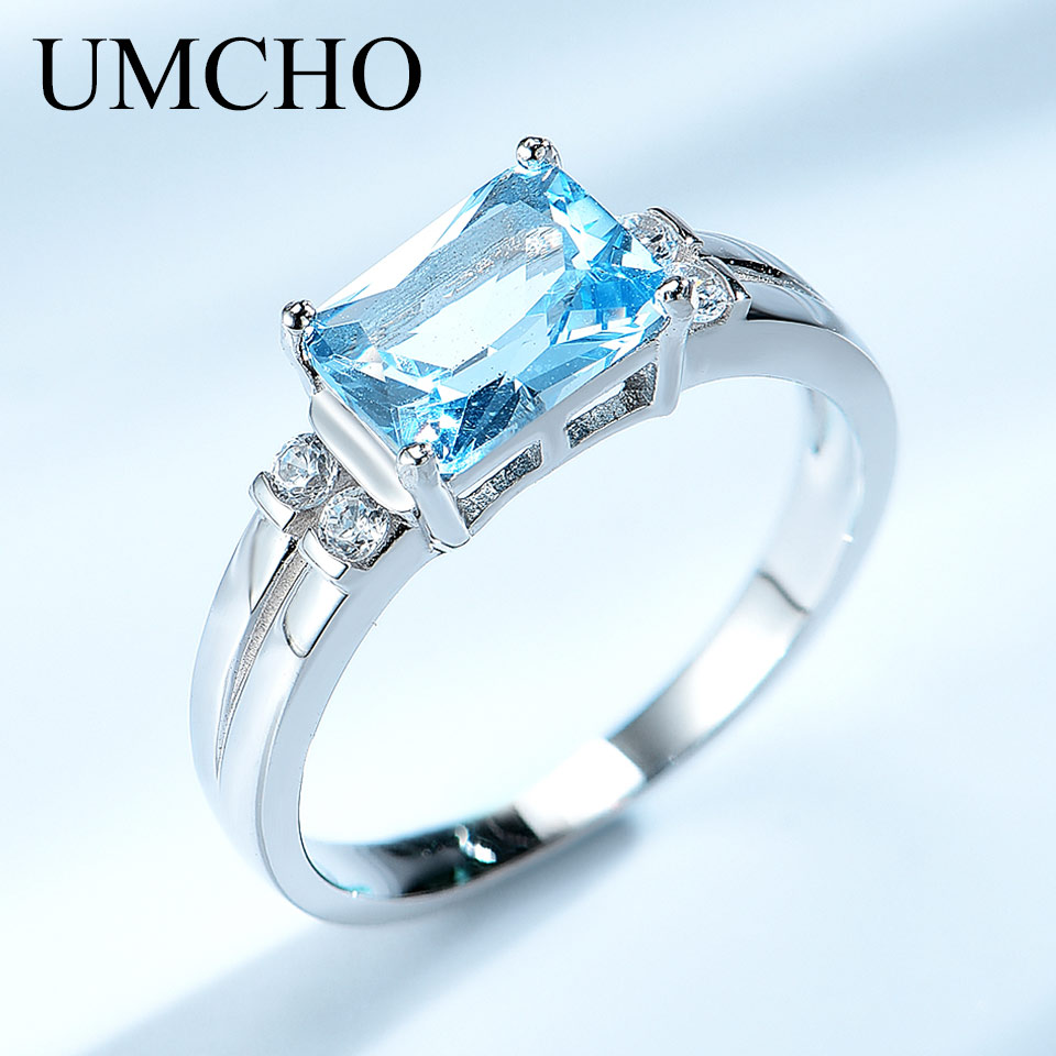 UMCHO Solid 925 Sterling Silver Jewelry Created Nano Sky Blue Topaz Rings For Women Cocktail Ring RUJ125AM-1 wellmade solid 925sterling silver illuminati ring