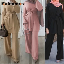 Ramadan Eid robe musulmane femmes 2pecs ensemble Blouse pantalon large Dubai Abaya à lacets solide Ropa caftan eau islamique turquie africaine