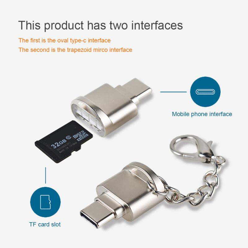 Lector de tarjetas Mini USB 3,1 tipo C portátil, USB-C, TF, Micro SD, OTG, adaptador tipo-c, lector de tarjetas de memoria para Samsung Macbook Huawei