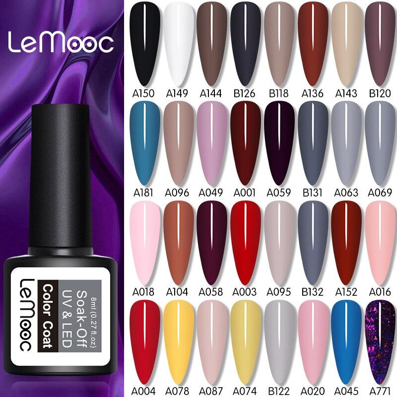 LEMOOC 8ml Gel esmalte de uñas 60 colores Soak Off Semi permanente UV barniz DIY Nail Art barniz decoración para uñas