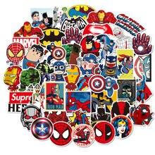 Pegatinas de Marvel para niños, calcomanías de Spiderman, vengadores, Anime, para equipaje, cuaderno, Guita, Scrapbooking, 50 Uds.