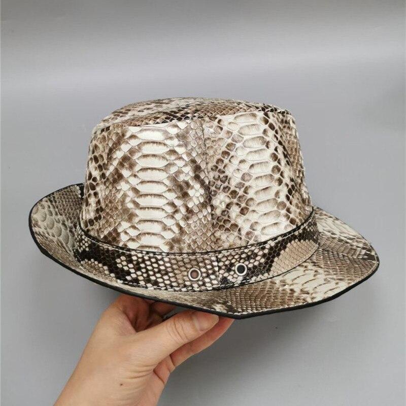 أصيلة حقيقية حقيقية جلد الثعبان السادة ديربي القبعة المستديرة جلد ثعبان أصلي مرحلة الأداء قبعة الساحر ذكر فيدوراس قبعة
