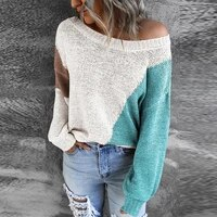 women o neck loose knitted tops femme casual long sleeve harajuku sweaters 2021 autumn winter patchwork pullover sweater jumper
