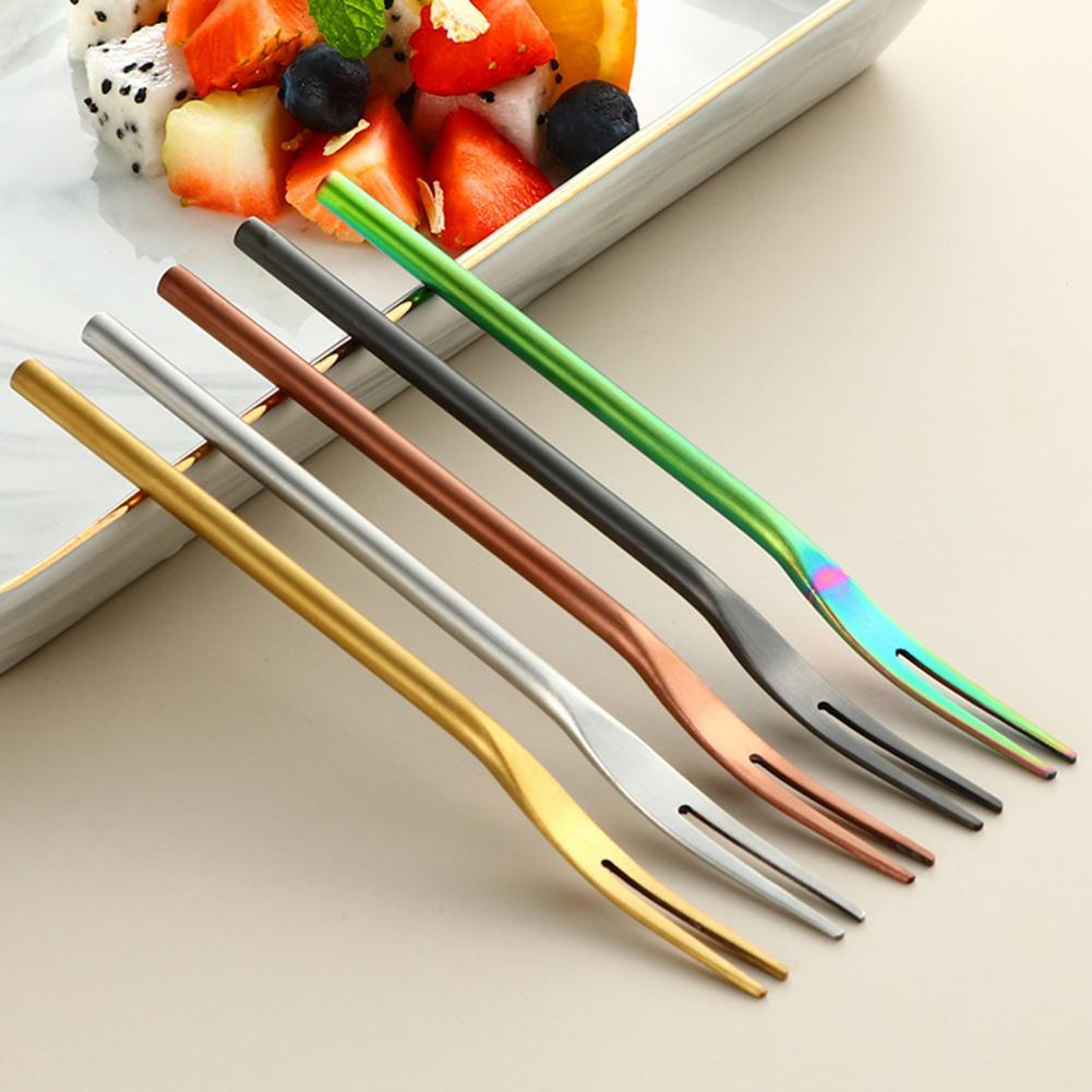 Stainless Steel Two-tine Fork Fruit Fork set Tableware Multiple Use Snack Cake Dessert Forks Cafeteria Home Flatware jaswehome 6pcs full tang stainless steel steak forks set tableware cutlery set meat fork dinner dessert fork fruit forks
