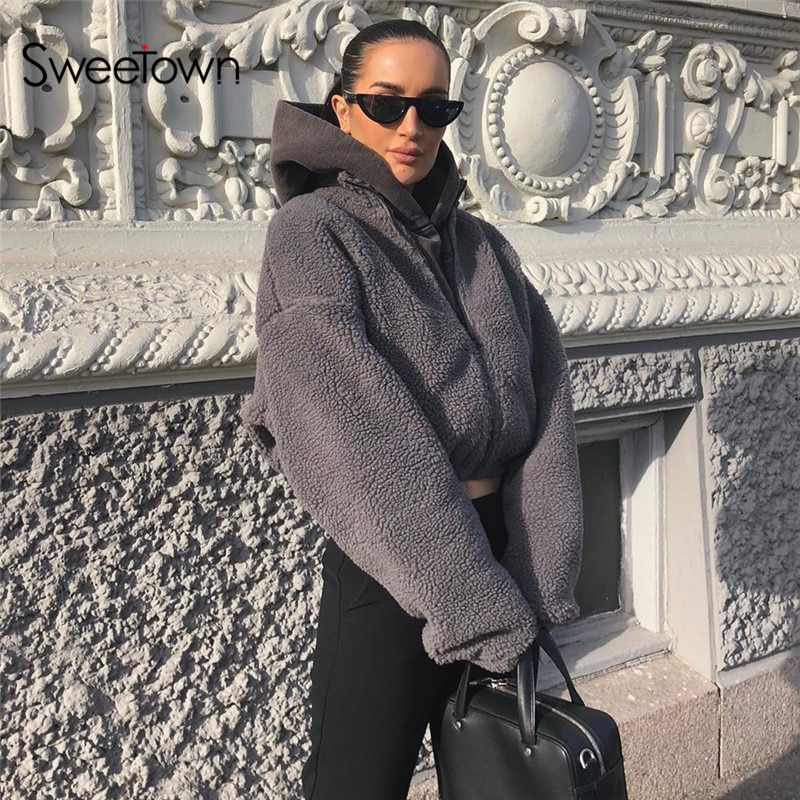 Sweetown invierno moda gris sólido Teddy Faux Fur Coat mujer cremallera cuello alto manga larga otoño chaquetas abrigos trajes calientes