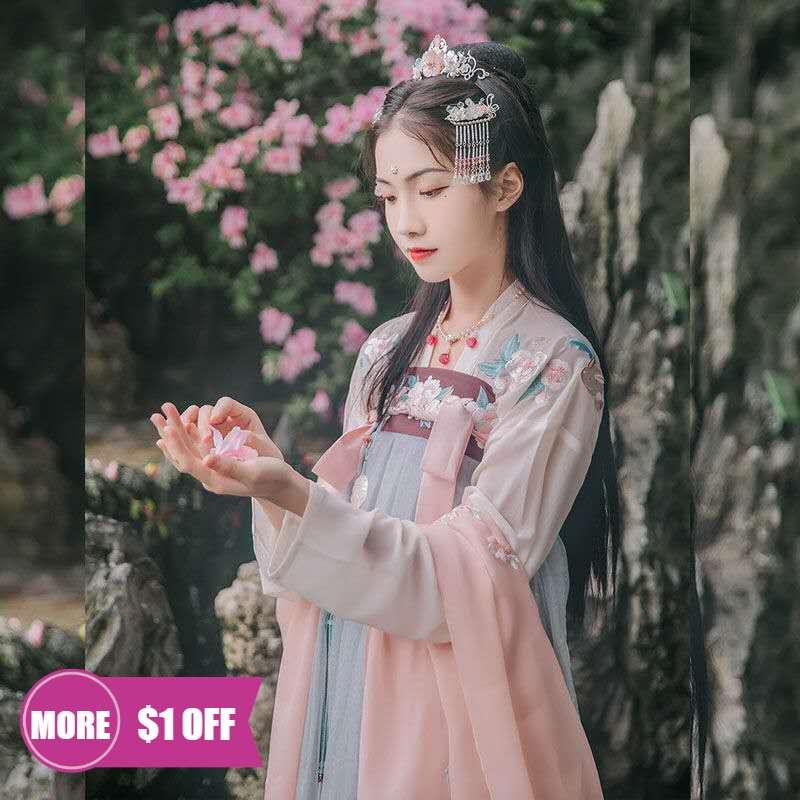 Традиционный китайский костюм феи, женская одежда ханьфу, одежда для восточных народных танцев, женское платье принцессы династии Хань, кос...