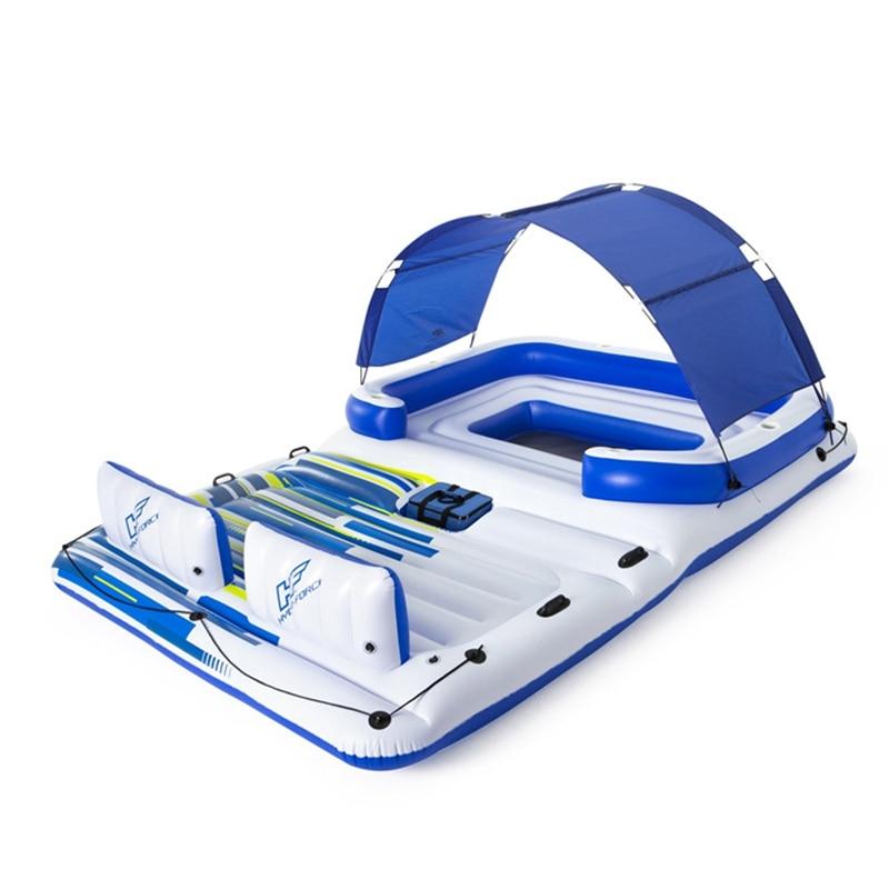 Gigante 6 pessoa inflável brisa tropical ilha flutuador barco piscina flutua cama com sol dossel brinquedos de água piscina diversão jangada