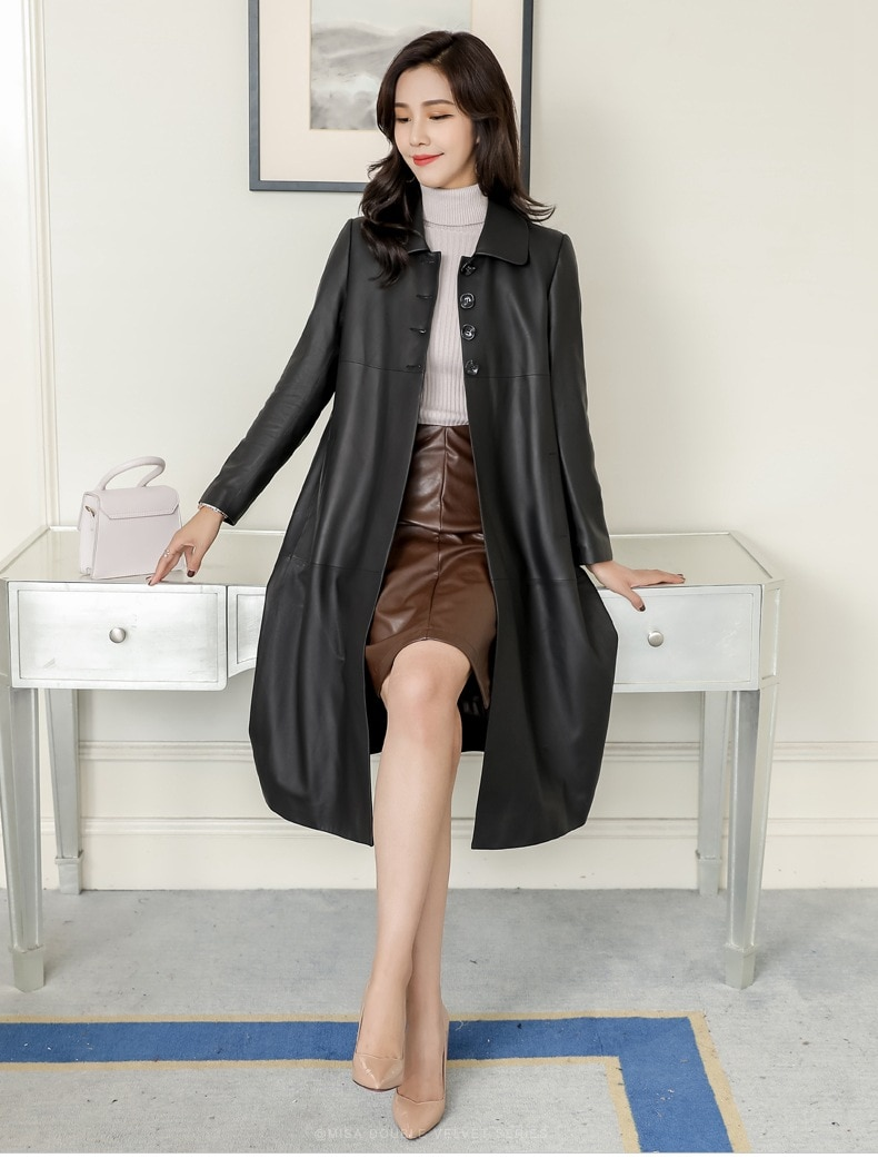 2021 Spring Autumn Black Leather Jacket Tops Women's Brand Leisure Loose Sheepskin Coat Plus Size Long Genuine Leather Trench enlarge