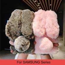 Leuke Oren Konijn Fluffy Case Voor Samsung Galaxy S10 S9 S8 Note 9 8 Plus Lite S7 S6 Rand J6 j7 J8 A8 A70 A50 A40 Pluche Fur Cover