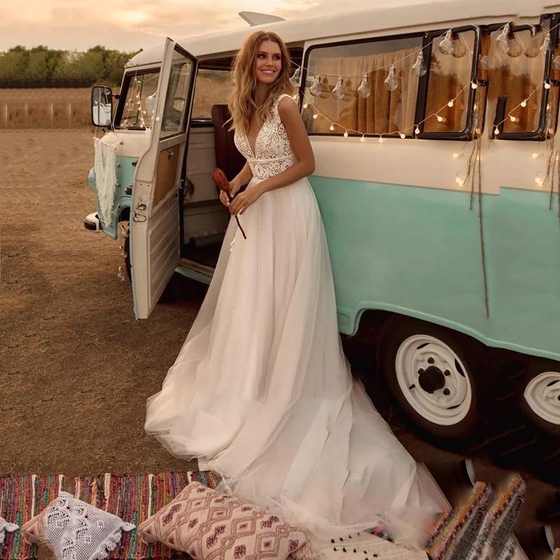 Promo Boho Wedding Dresses Silky Organza With Beach Train V-neck Sleeveless In Bride Zipper With Custom Made