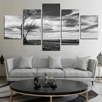 Tableau dart mural en noir et blanc  affiche de paysage de la terre sans homme  image artistique murale de conjonction  pour la maison  decor de salle de cafe  5 pieces