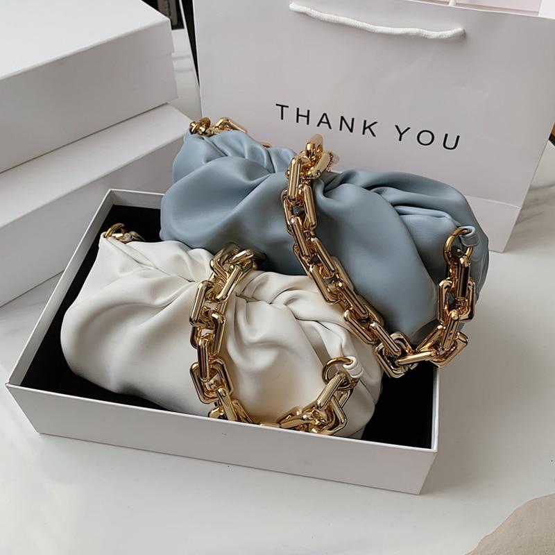 Fashion Ruched Baguette Shoulder Bags For Women Acrylic Chain Design Dumpling Female Pouch PU Leather Cloud Clutch Purse 2021