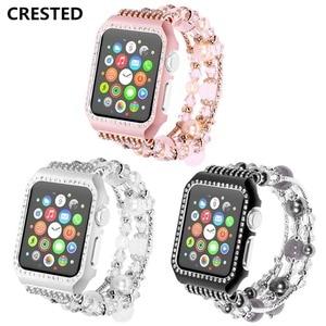 CRESTED diamond strap For Apple Watch band 42mm 38mm Iwatch series 3/2/1 Shiny Rhinestones Agate wrist watchband bracelet belt
