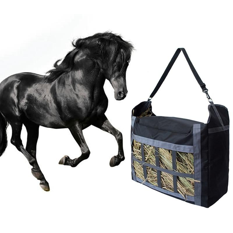 Bolsa de mano de heno de nailon con correa ajustable, bolsa de heno de gran capacidad, resistente y duradera, fácil de llenar y transportar