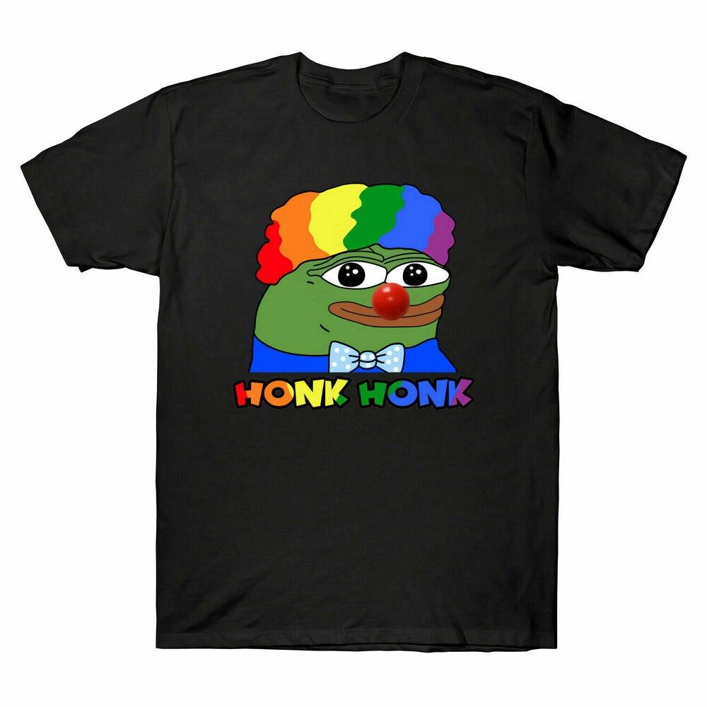 Payaso Pepe Honk Honkler Meme hombres Tops Camiseta de algodón negro divertido estilo de verano camiseta