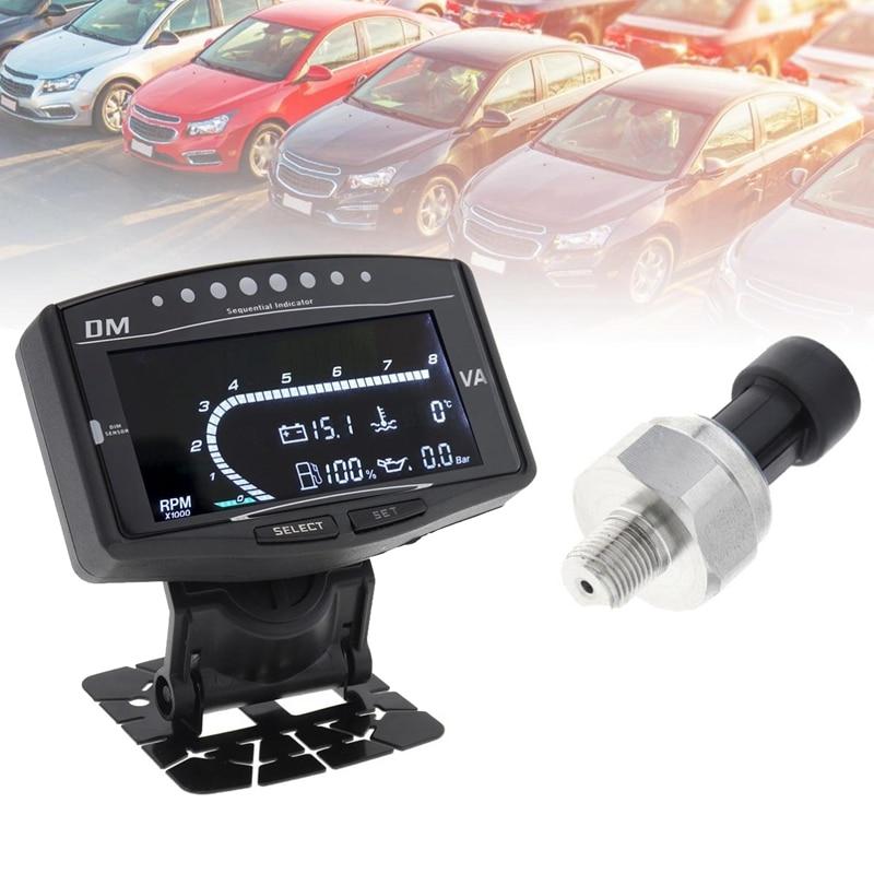 6 в 1 Универсальный Автомобильный цифровой ЖК датчик давления масла вольтметр