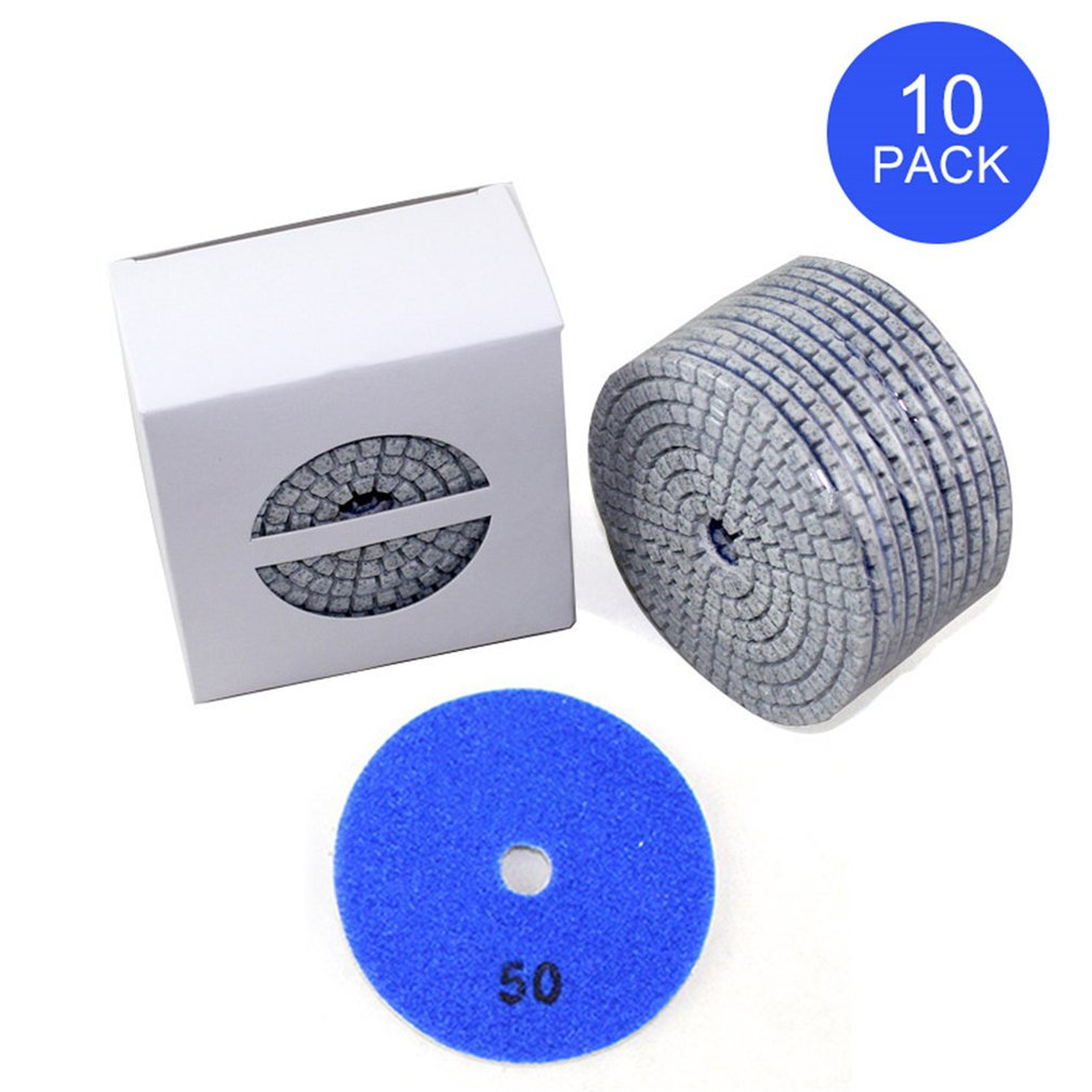 10pcs Diamond Polishing Pads Kit 4 inch 100mm Wet/Dry for Granite Stone Concrete Marble Polishing Use Grinding Discs Set