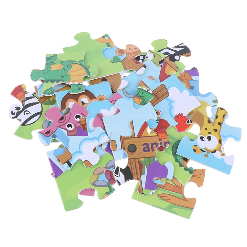 24 Pieces Paper Puzzle Kids Montessori Toy Cartoon Forest Animal Zoo Jigsaw Puzzle Child Early Educa
