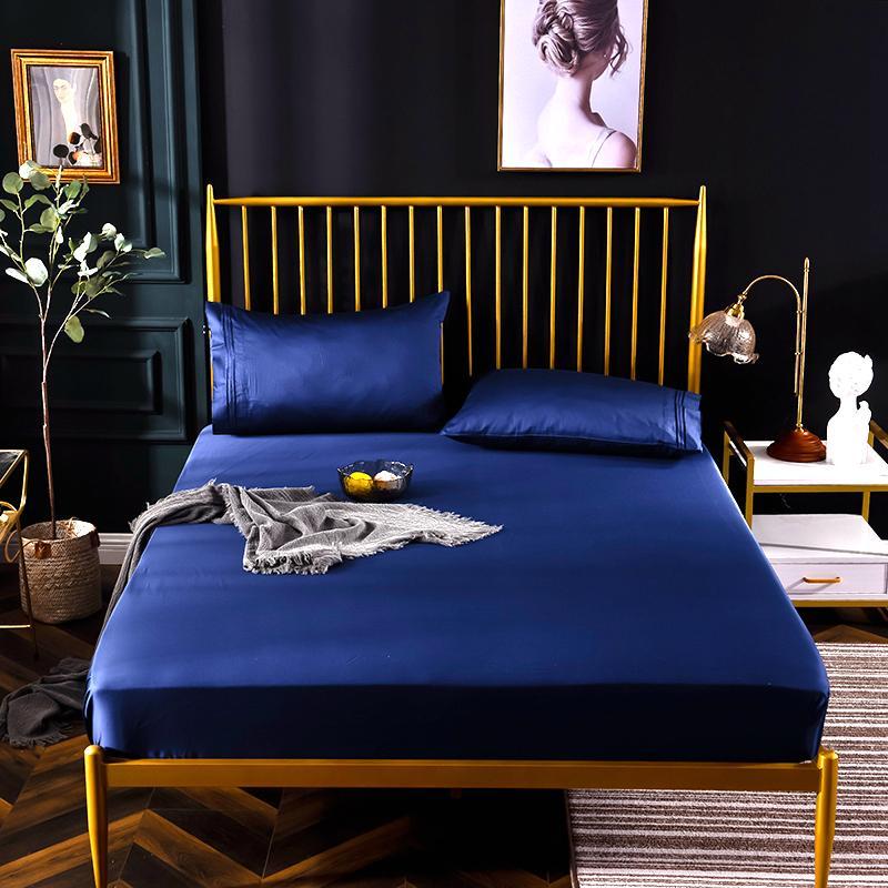 ملاءة سرير من القطن المصري الأزرق 600TC ، غطاء وسادة ، مع شريط مطاطي مرن في كل مكان ، # s