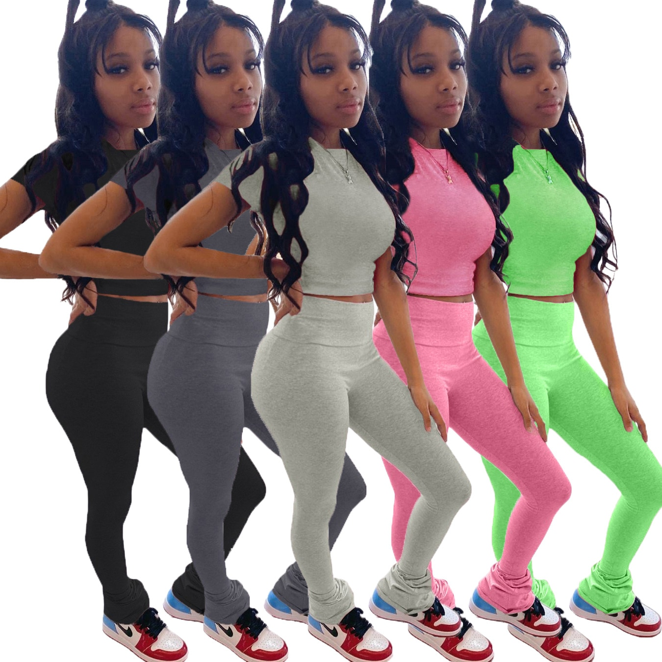 Solid color flared pants high waist butt lift two-piece hot sale European and American women's clothing
