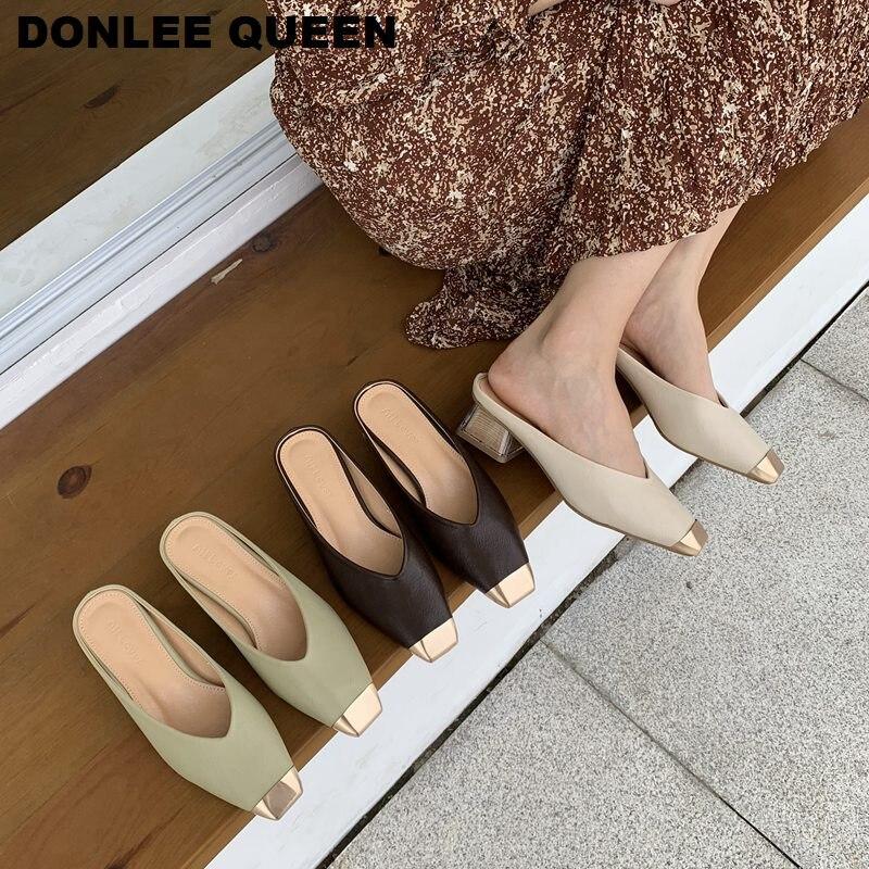 Fashion Women Square Toe Slippers Square Low Heels Outside Slides Luxury Brand Metal Toe Mule Elegant women Shoes Casual Slipper