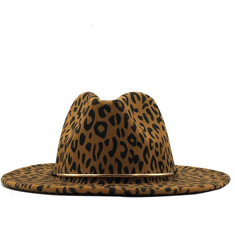 Simple Unisex Flat Brim Wool Felt Jazz Fedora Hats Men Women Leopard Grain Leather Band Decor Trilby
