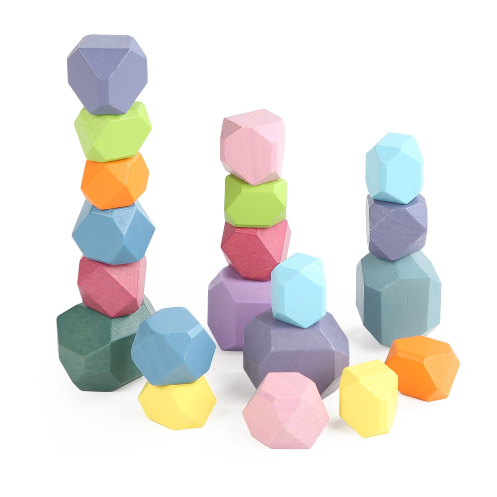 Фото - JaheerToy Colored Stone Stacking Stones Wood Blocks  Rainbow Stone Children's Wooden Toys Educational Toy wood and stone about