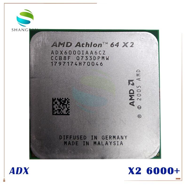 Frete grátis para amd athlon x2 6000 x2 6000 + 3 ghz adx6000iaa6cz duplo-núcleo processador cpu soquete am2 940pin