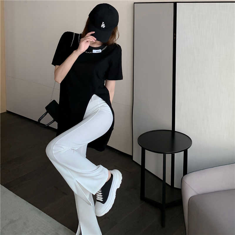 Casual Fashion Set Women's 2021 New Spring and Summer Design Loose T-shirt + High Waist Bootcut Two-