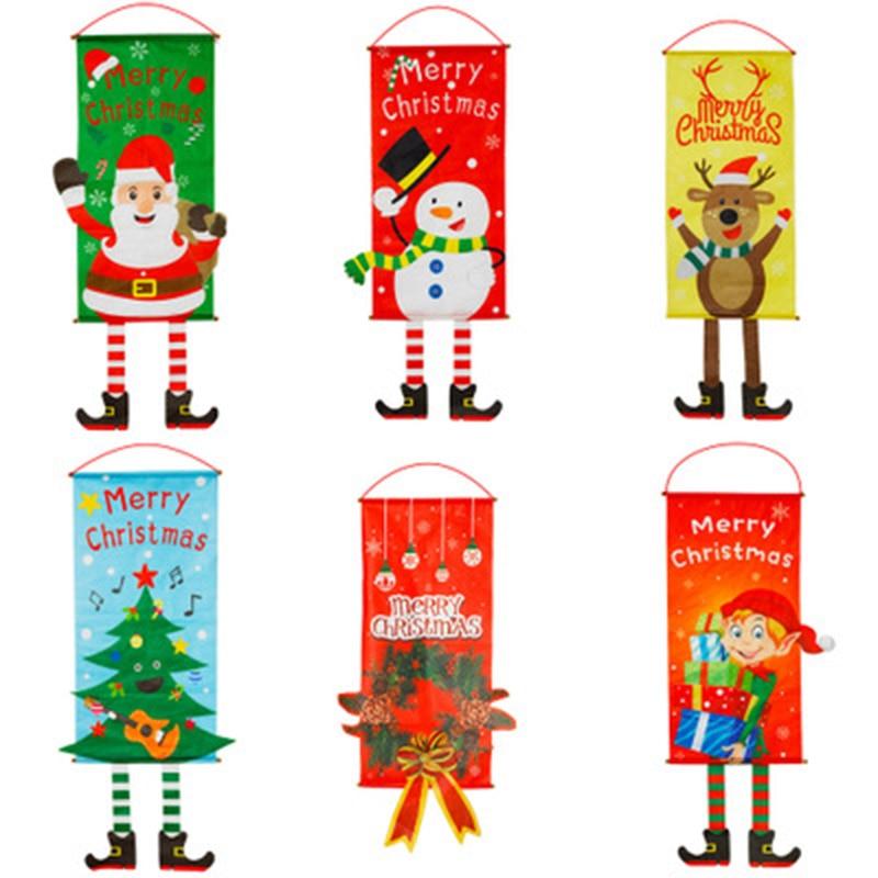Feliz Navidad colgante decoración con banderas para la pared del hogar banderas para fiestas al aire libre interiores bandera del Partido appelí di Natale Navidad H99F