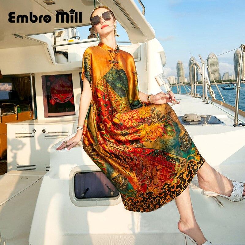 المرأة الصيف نمط جديد خمر منتصف طول التوت الحرير المطبوعة الصغيرة الوقوف طوق قصيرة الأكمام فستان فضفاض أنيق S-XL