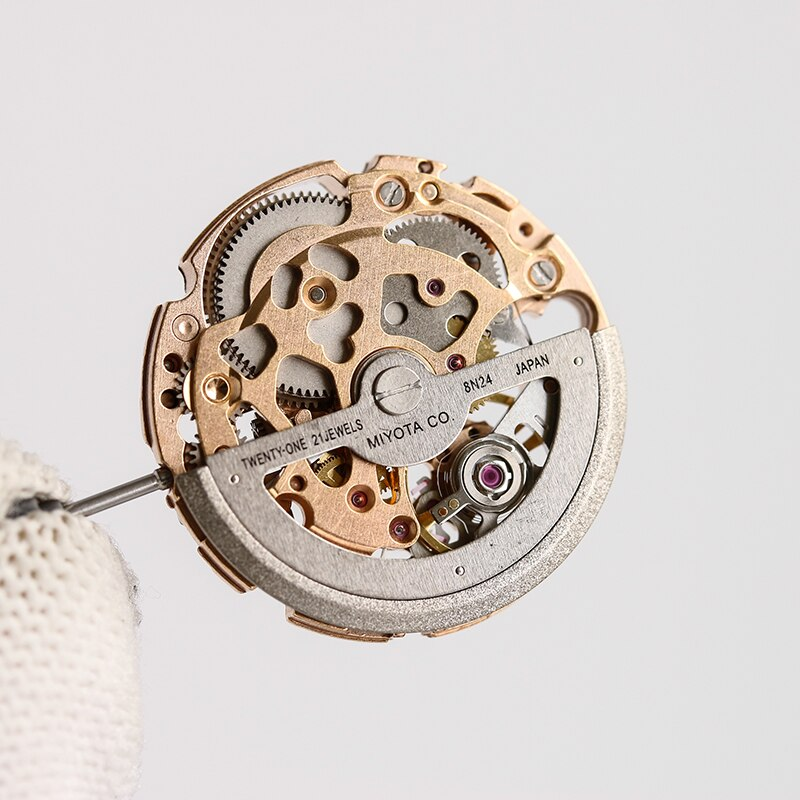MIYOTA 8N24 Gold Blue Hollow Skeleton Automatic Mechanical Movement 21 Jewels Made in Japan Self-Winding Movement enlarge