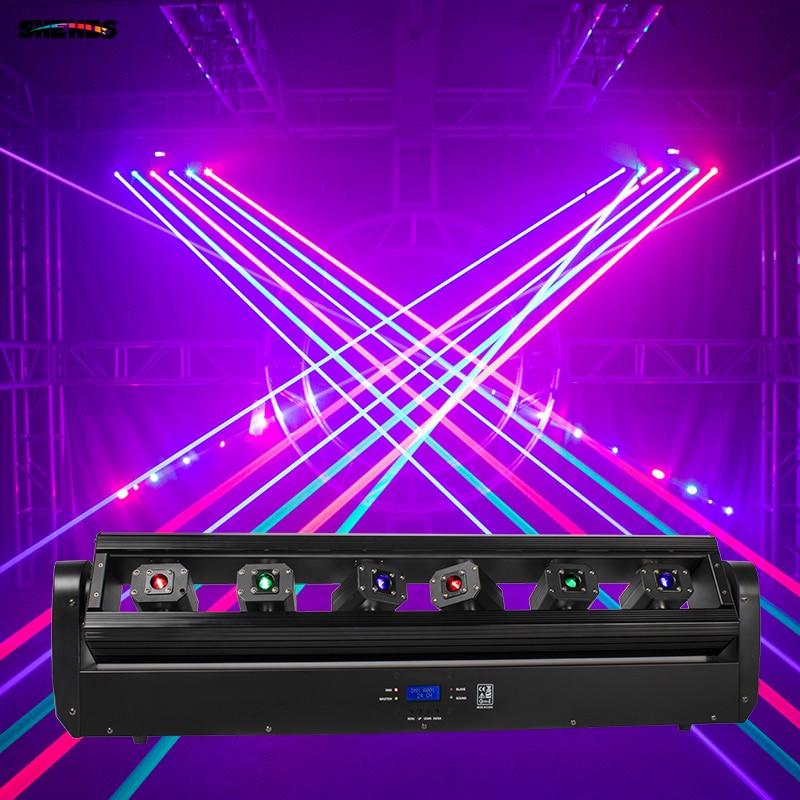 شريط ليزر متحرك 6x500mW ، 6 عيون ، تأثير المرحلة RGB ، شريط ، شعاع ، رأس متحرك ، حفلة ، ديسكو ، زفاف ، جهاز عرض تحكم DMX