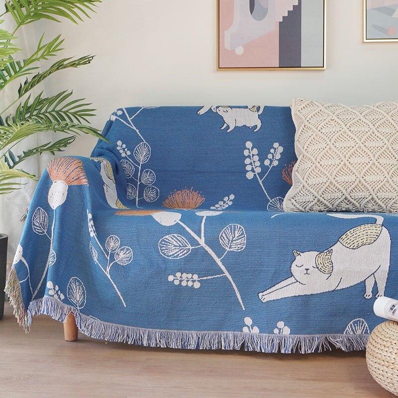 الكرتون القط أريكة بطانية ، عدم الانزلاق غطاء أريكة ، مزدوجة الوجهين حامي الغلاف مع شرابات ، نسيج القطن رمي بطانية للنوم