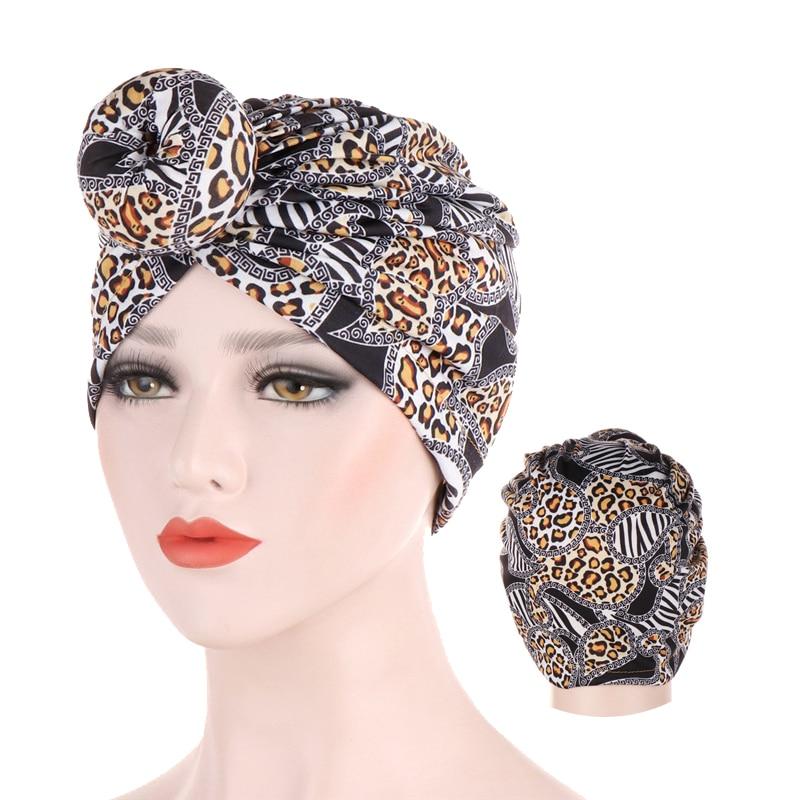 2019 moda leopardo turbante cap donut animal estampado musulmán tocado tapas interiores para hijab femme muswulman hijab underscarf bonnet