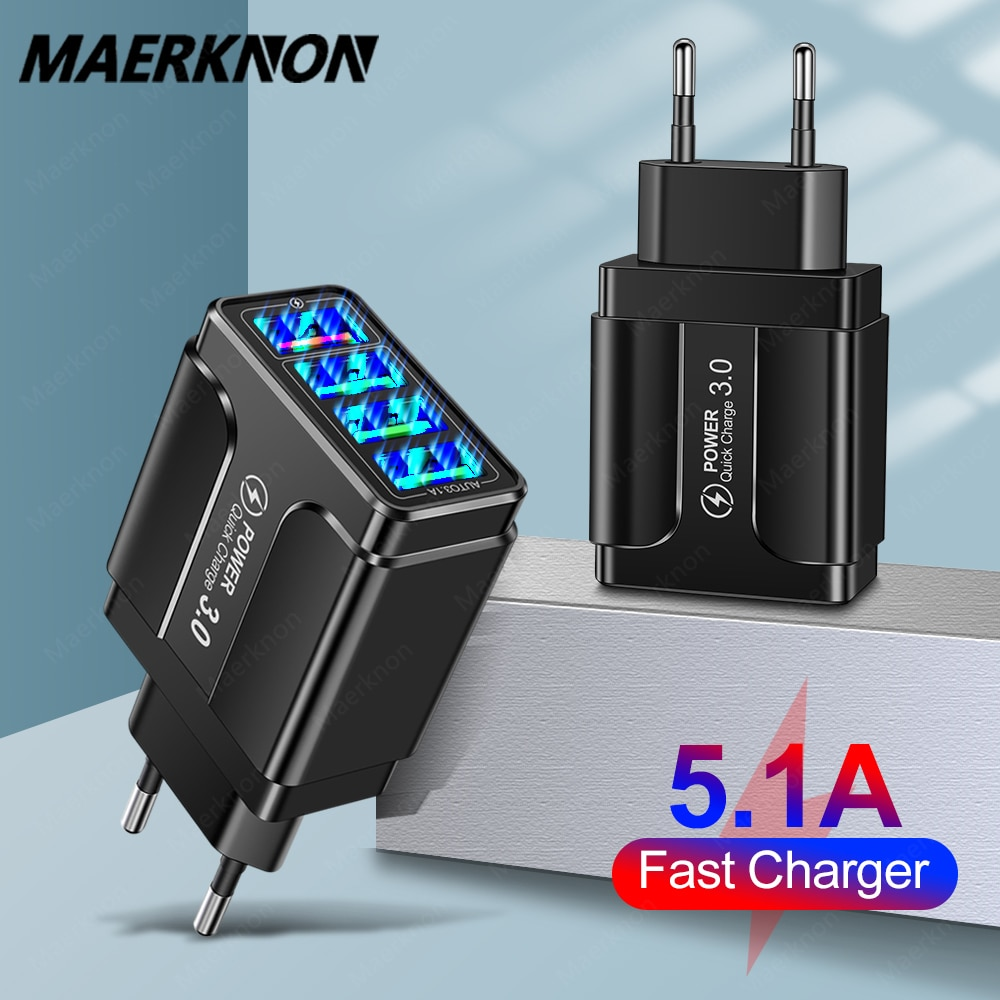 4 Ports USB Charger Quick Charge 3.0 4.0 For iPhone 12 11 Huawei Samsung S9 Xiaomi Mobile Phone 5.1A 4 Ports Fast Wall Charger