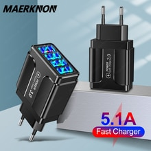 4 Ports USB Charger Quick Charge 3.0 4.0 For iPhone 12 11 Huawei Samsung S9 Xiaomi Mobile Phone 5.1A
