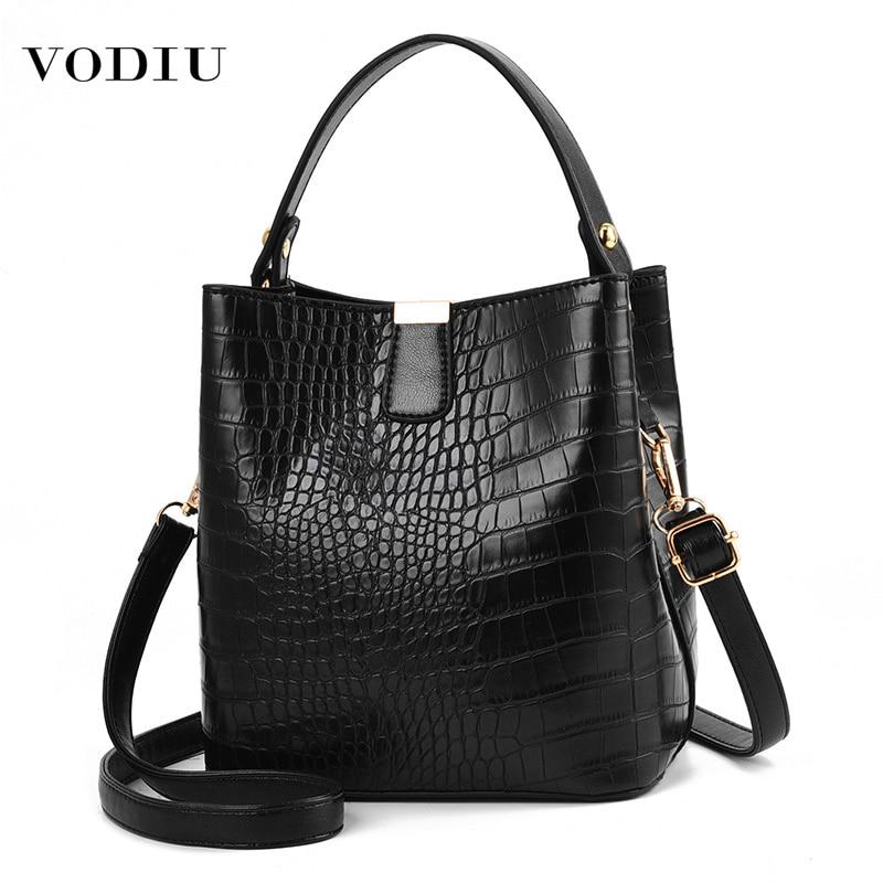 Bag Women's Leather Handbag 2021 Designer Brand Ladies Large Capacity Crocodile Bucket Female Handbag Crossbody Shoulder Women