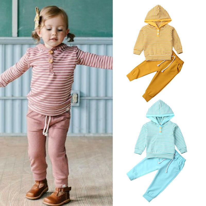 Ropa activa para niñas recién nacidas chándales de otoño 2019 para niñas trajes Sudadera con capucha a rayas pantalón para Niñas Ropa conjunto